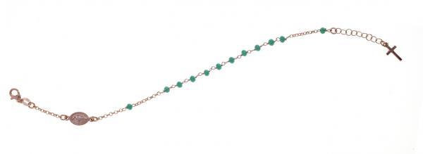 Bracciale rosario pendente Prega&Ama in argento925 con pietre verdi