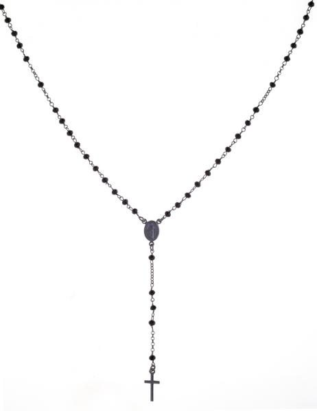 Collana rosario pendente Prega&Ama in argento925 con pietre nere